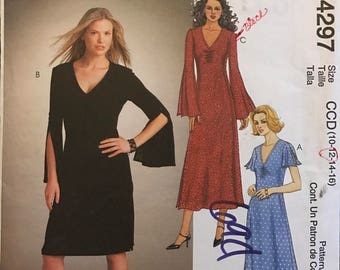 McCalls 4297 - Easy Stretch Knit Dress with Deep V Neckline and Long Bell or Short Flutter Sleeves - Size 10 12 14 16