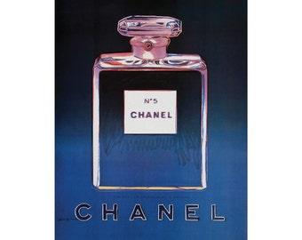 Blue Chanel No 5 No5 No.5 Andy Warhol Print Poster - Pop Art, French, Vintage, Art Deco