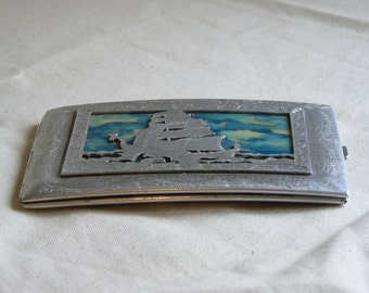 WWII Prisoner of War Made Cigarette Case in White Metal with Exquisite Etched Detailling.