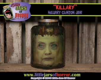 "Hillary Clinton Head in a Jar ""Killary""-Horror Prop/Prank/Gift/Halloween Decor - Monster, Zombie, Walking Dead, politics, funny,"