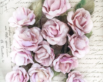 12 small rose pack .velvet flowers. millinery flowers. scrapbooking flowers. craft flowers. velvet roses.. doll and teddy flowers
