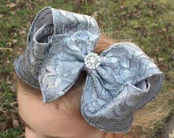 Silver Hair Bow - Silver Lace Hair Bow - Silver Hair Bows - Silver Hairbows - Silver Boutique Bow - Big Southern Bows - Silver Hair Bow