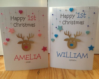 Handmade personalised 1st Christmas card- personalised with name and year.