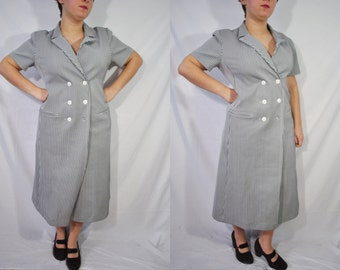 Vintage 50s Gray Secretary Dress Preppy Mad Men Dress Maxi Length Collared Dress Mid Century Day Wear Casual Housewife Mid Length Dress