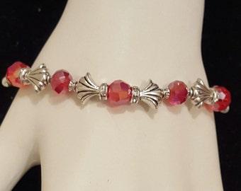 Red Crystal Art Deco Bracelet