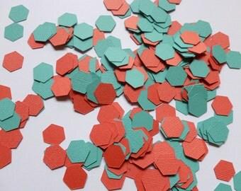 Coral and Teal Geometric Confetti | Geometric Party Decor | Coral Confetti | Teal Confetti