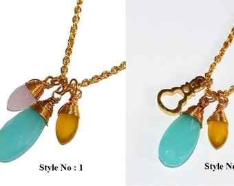 22k Gold Vermeil Aqua Chalcedony, Pink & Yellow Chalcedony Wire Wrapped Gemstone Necklace, Guitar Necklace, You Select