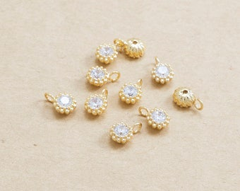 Tiny Cubic Zirconia Pendant, Jewelry Supplies, Polished Gold Plated over Brass - 2 Pieces-[BP0097]-CUBICZIRCONIA/PG