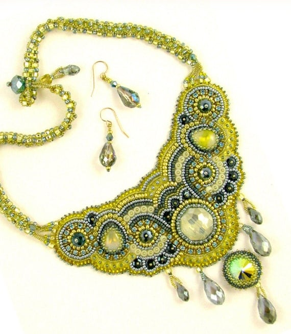 Lemon ice bead embroidery necklace kit by ann benson