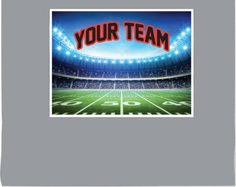 Football Field w/ Your Teams Name & Colors PHOTO TEX Removable Cling Wall Decor