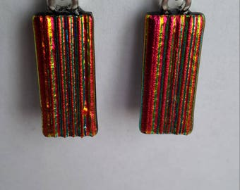 Fibroid Red-Dichroic Glass Drop Earrings-925 Silver