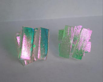 Pink-Green - Gold Dichroic Glass Stud Earrings - Silver