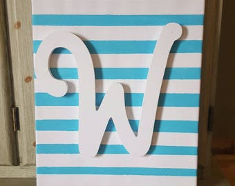 Initial canvas, striped canvas, home decor, initial decor