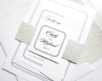 Silver Glitter Wedding Invitation - Simple Elegant Wedding Invitation, Formal Wedding Invitation, Glitter, Belly Band - SAMPLE SET