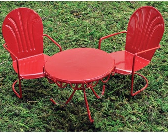 Fairy Garden  - Retro Red Bistro Set - Miniature