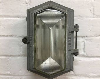 Industrial Vintage 1950s Cast Iron Maxlume Factory Bulkhead Light
