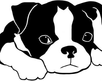 DIY Boston Terrier Puppy Vinyl Decal, Dog  Decal, Car Window Decal, Laptop Decal, Tablet Decal, Cell Phone, Yeti Cup Decal, Drinkware