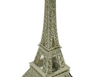 SILVER  Eiffel Tower Paris France Metal Stand Model For Table Decor CHOOSE SIZE