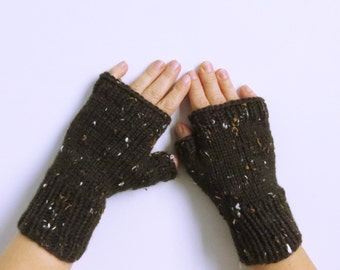Hand Knitted, Acrylic Fingerless Mittens / Hand Warmers. Size -M.