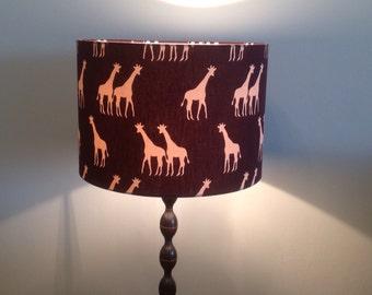 Hand made rolled-edge giraffe fabric lamp shade