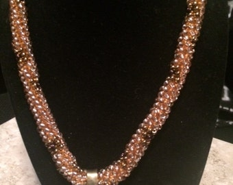 Vintage Unique Bead, woven  rope, amber copper necklace with  brass pendant