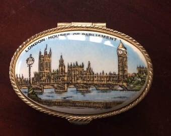 Vintage Goldtone Porcelain  Englan House of Parliament Souvenir Trinket Box 1960's - 1970's