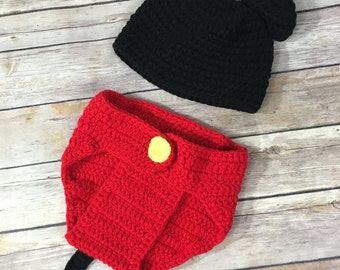 Mickey Mouse knitted outfit
