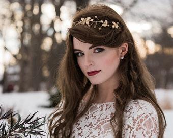 Gold Hair Vine, Gold Bridal Headpiece, Boho Sash/Belt Bridal Headpiece, Crystals, Pearls, Gold Bridal Hair, Bridal Crown, Headpiece 5(G)