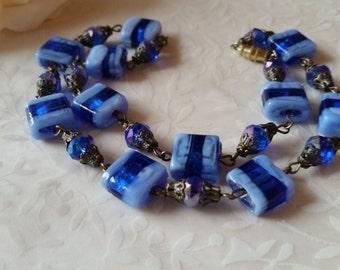 Vintage Lampwork Glass Bead Necklace Glass Necklace Crystal Cobalt Blue