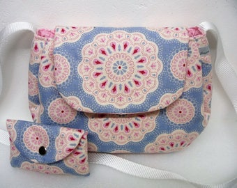 Small ethnic cotton fabric Sling bag, blue and pink