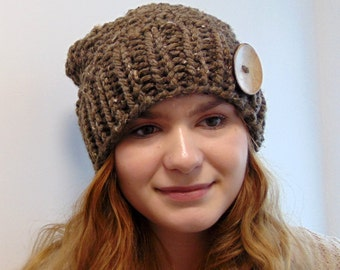 Chunky Knit Slouch Hat Slouchy Beanie Brown Tweed Moss Sitch Soft Wool Blend Handmade Alaska