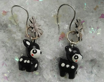 """pretty earrings """"Black Bambi"""" ideal for parties"""
