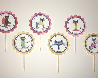 Pete the Cat cupcake toppers