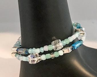 Blue bracelet, blue beaded bracelet, blue bead bracelet, aqua bracelet, aqua beaded bracelet, aqua bead bracelet, bracelet blue