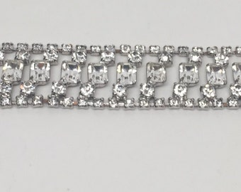 Vintage Large 1960's ART DECO Style Bracelet Crystal Clear Rhinestones