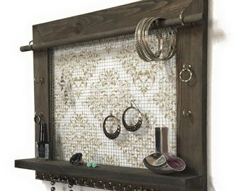 Jewelry Holder - FREE SHIPPING - Wood Wall Hanging Display