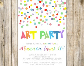 Colorful ART PARTY BIRTHDAY Invitation, Digital Paint N Play Party Invite, Rainbow Confetti Painting Pottery Boy Girl 5th 10th Birthday LA19