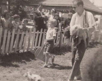 Pig Race, Vintage Photograph, Black and White Photo, Vernacular Snapshot, Baby Pigs, Children at an Event, State County Fair