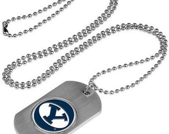 BYU Cougars Stainless Steel Dog Tag Necklace