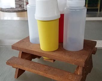 SALE Vintage Tupperware Picnic Table Serving Set ketchup Mustard Pump Dispenser Table Caddy