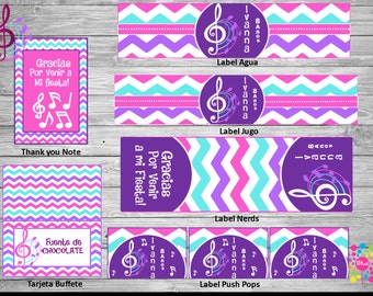 NEW!! MUSIC  !! Printable Party Set! Customize!!