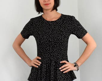 Peplum blouse with dots/ short sleeve black and white dots peplum blouse.