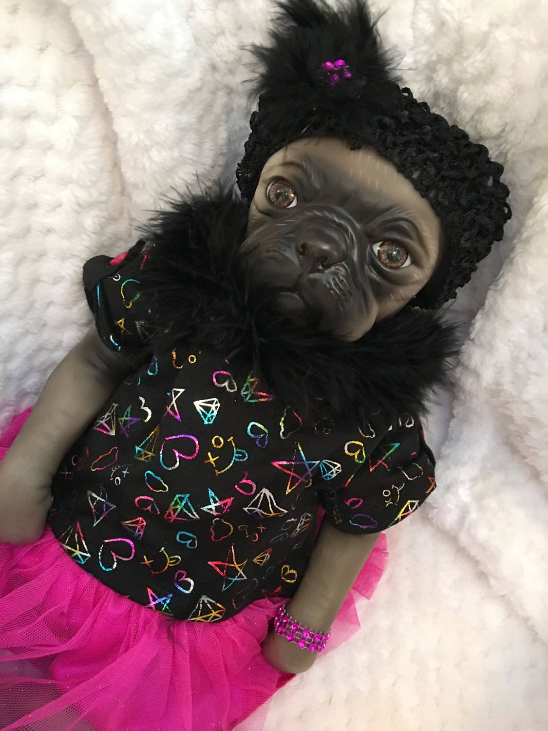Reborn Baby Doll Girl Princess Pug Dog Puppy Doll Real