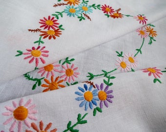 Vintage Square Tablecloth. A Hand Embroidered White Linen Tablecloth With Brightly Coloured Daisies. Perfect for an afternoon tea party!
