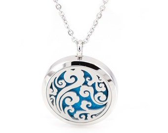 Essential Oil Necklace Aromatherapy Diffuser Ocean Swirl