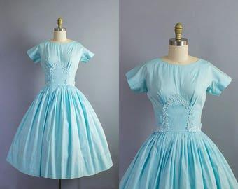 1950s floral dress/ 50s cotton flower applique dress/ small