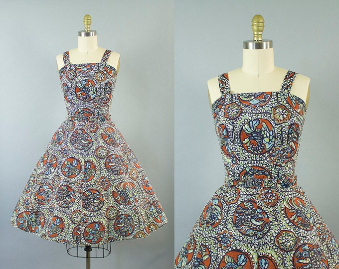 1950s rooster print cotton sundress/ 50s novelty print dress/ mode o day/ medium