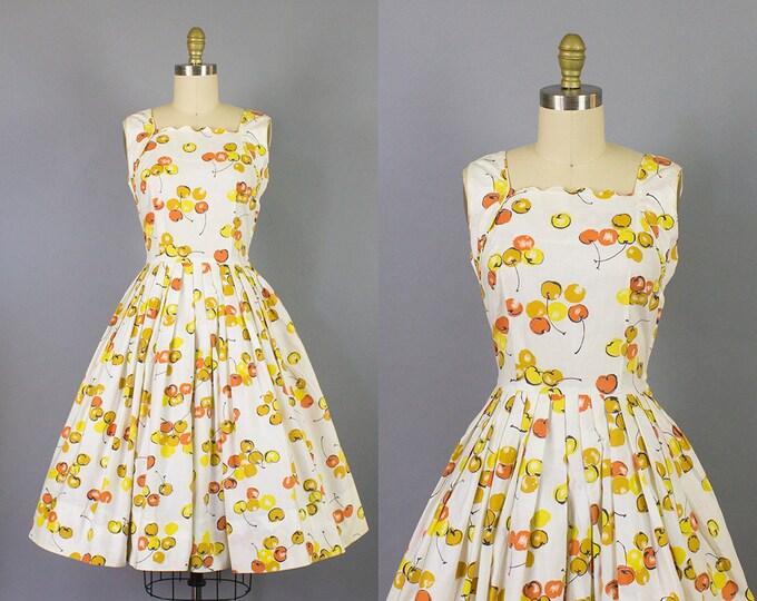 1950s cherry print sundress w/ scalloped neckline/ 50s novelty print cotton dress/ small