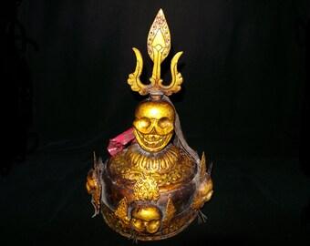 Rare Nepal Tibet Gold Lacquer Bronze Citipati Skull Ritual Crown
