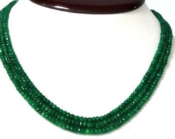 Triple Strand Emerald Beaded Necklace with Adjustable Rope Tie